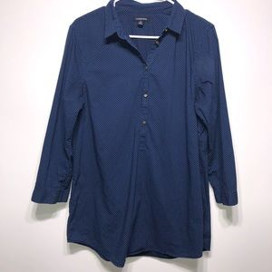 Lands End Navy Blue Polka Dotted Tunic Size 14